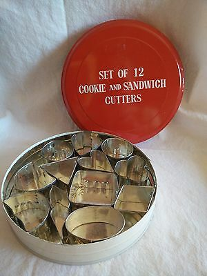 Vintage Set of 12 Cookie and Sandwich Cutters In Original Red & White Tin