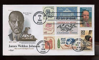US SUPER FRANKED First Day COMBO cover 1988 James Weldon Johnson