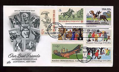 US SUPER FRANKED First Day COMBO cover 1984 Our Best Friends (Dogs)