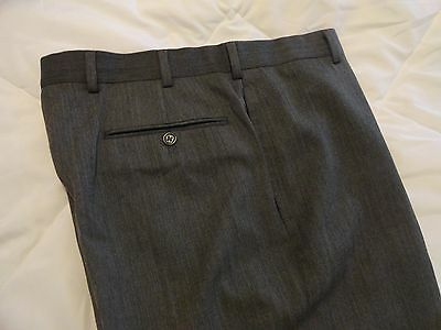 BROOKS BROTHERS MEN'S WOOL FLAT FRONT CASUAL/DRESS PANTS- GRAY-(34-35 x 32)