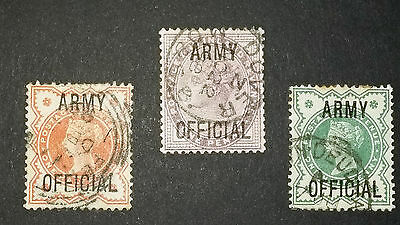 Great Britain Sg O41, 42 & 43 Army Official Used Rare  Queen Victoria