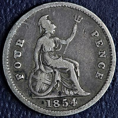 1854 Great Britain 4 Pence Groat .9250 Fine Silver Coin *