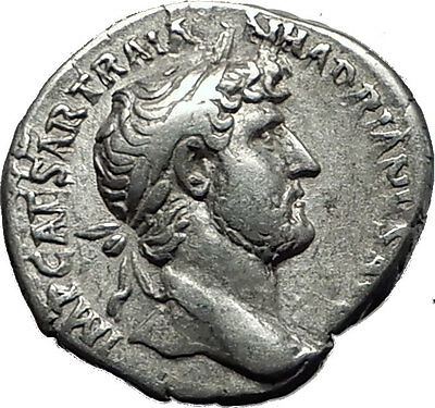 Hadrian  119AD Silver Rare  Ancient Roman Coin Salus Asclepius daughter  i58524