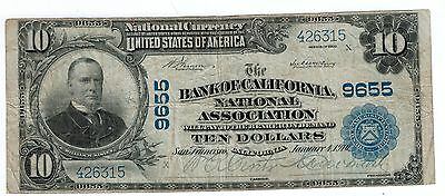 1910 $10 National Currency Note From California Fine