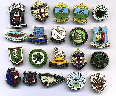 20 Bowling Bowls Club Badges Various Towns & Places (Lot 1)