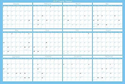 "Yearly Wall Calendar 2017 ERASABLE 24 x 36""  Vertic / Horiz 2 sides Laminated."