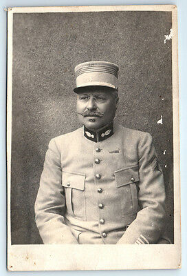 Antique WW1 FRANCE Real Photo RPPC Postcard FRENCH ARTILLERY OFFICER