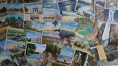 Mixed Lot of 60 Vintage - Mostly Linen Postcards - United States