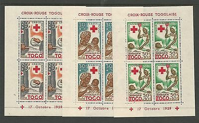 Togo 1959 Red Cross Sheets Set Of 3. Perforated. Kennedy. Cat $15.00
