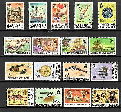St Kitts Nevis QEII 1970-4 Set to £10 excl. 15c type I MNH