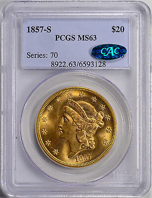 1857-S $20 Liberty Head Double Eagle PCGS & CAC MS63