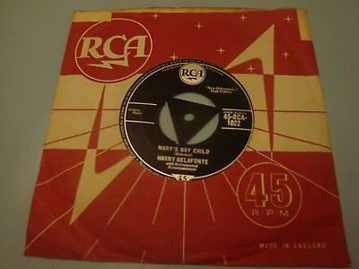 "HARRY BELAFONTE Mary's boy child 7"" vinyl record single 45 RPM RCA records"