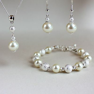 Cream ivory pearl necklace bracelet silver wedding bridesmaid jewellery set