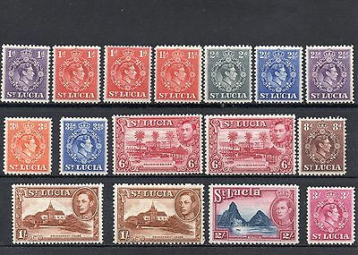 St Lucia GVI 1938-48 Values to 3/- Mixed Perfs. MM Cat £32
