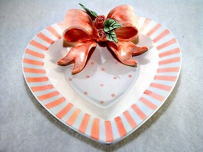 VALENTINES DAY - JEWELRY or RING HOLDER DISH - HEART SHAPED PLATE MUDPIE