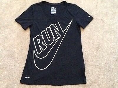 "Ladies Black Nike Running Gym DRI-FIT T Shirt Athletic Cut Size Small 32"" Chest"