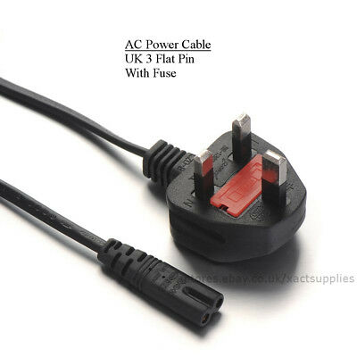 C7 Figure 8 to UK 3 Pin Power Cable Lead Cord for PlayStation 3 PS4, Sky, LED TV