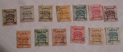 13 PALESTINE Overprint Stamps - BRITISH OCCUPATION, Egyptian Expeditionary Force