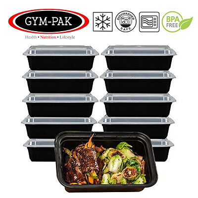 10 x 24oz Microwave Stackable Reusable Plastic Meal Prep Containers Food Storage