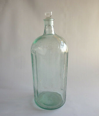 Very large vintage poison bottle, original stopper, apothecary bottle, display