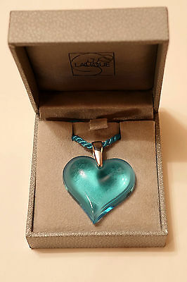 Lalique France Large Heart Necklace, Boxed