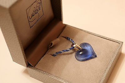 Lalique blue heart necklace, boxed