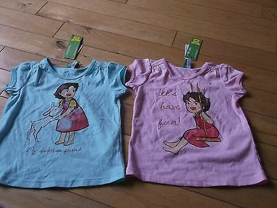 Bnwt Baby Girls Benneton Tee Shirts Age 1-2 Years One Pink One Blue 100% Cotton