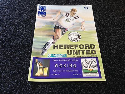Hereford United v. Woking 14/1/92 FA Cup 3rd Round Replay
