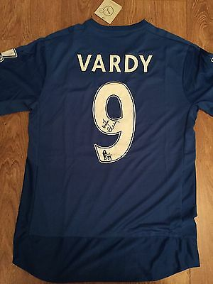 Jamie Vardy Signed Shirt Leicester City Autograph