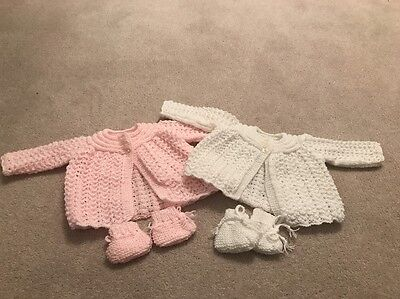 New Hand Knitted Baby Girl Cardigan 0 - 3 Months - Set Of Two