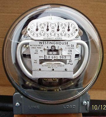 Vintage Westinghouse Electric Meter Type CA 15 Amp 120 Volts GRAY Pristine WORKS