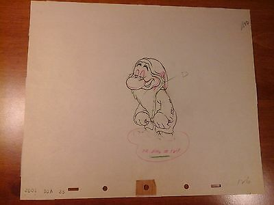 Rare Vintage Grumpy Production Drawing From Snow White - 1937
