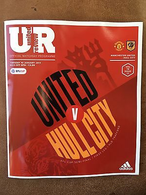 Manchester United v Hull City EFL Cup Semi Final Official Matchday Programme