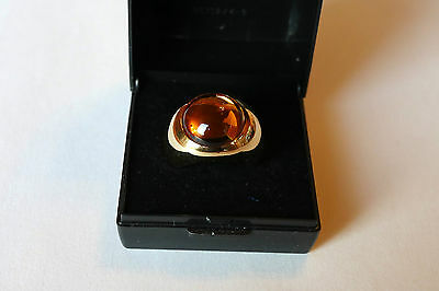 Lalique gold plated ring with an amber crystal ,