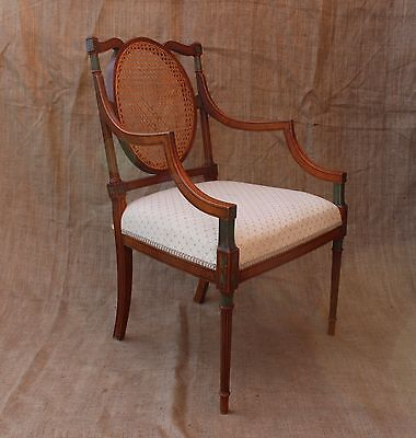 Antique Victorian satinwood painted upholstered armchair desk chair