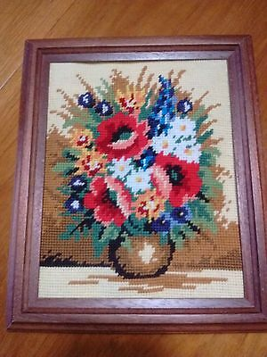 """Completed Tapestry Picture of Vase of flowers with frame. 10"""" x 11.5"""""""