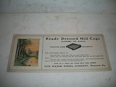 Vintage 1920's ADVERTISING Ink Blotter Mill Cog's Fitz Water Wheel Co Hanover Pa