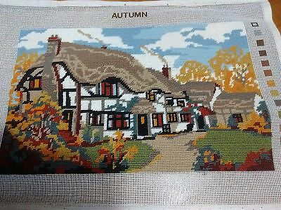 """Completed Tapestry Picture Cottage Autumn 14"""" w x 9"""" dp"""