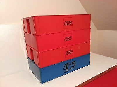 4 VINTAGE LEGO STORAGE CARRY CASES - (3 x RED + 1 x BLUE)