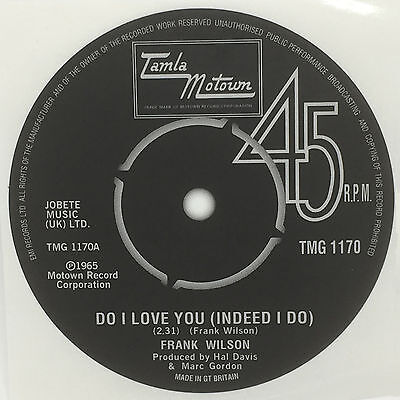 Frank Wilson - Do I Love You record label sticker. Tamla Motown. Northern Soul