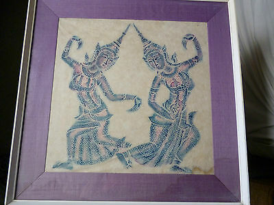Stunning large painting of Thai dancers, on fabric, beautiful colours