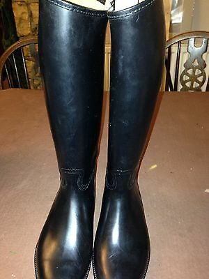 French Long Black Rubber Riding Boot S2