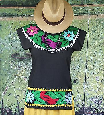 Hand Embroidered Multi-Color & Black Huipil Blouse, Jalapa Mexico Hippie Cowgirl