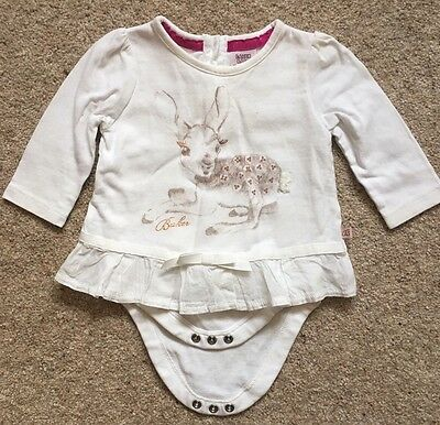 Baby Ted Baker Girl Cream Fawn Bodysuit Top 0-3 Months
