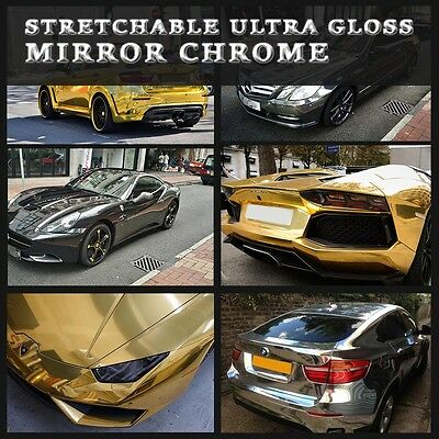 High Quality Stretchable Ultra Gloss Black Silver Gold Mirror Chrome Vinyl Wrap