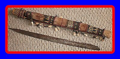 Head Hunter Sword Dayak Mandau Borneo ? W Sheath / Teeth