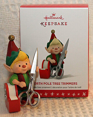 Hallmark 2016 North Pole Tree Trimmers #4 4th in SERIES Ornament NEW Elf Scissor