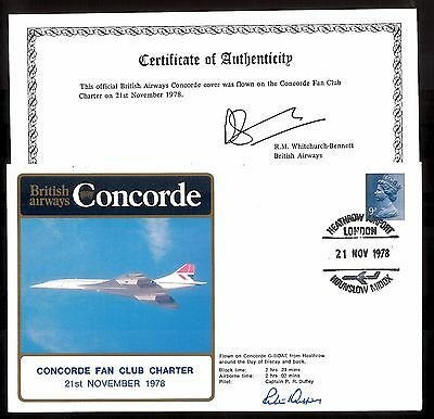 '78 BA CONCORDE FAN CLUB CHARTER Cpt.ALLAN SIGNED COVER~HEATHROW-B.of BISCAY &RT