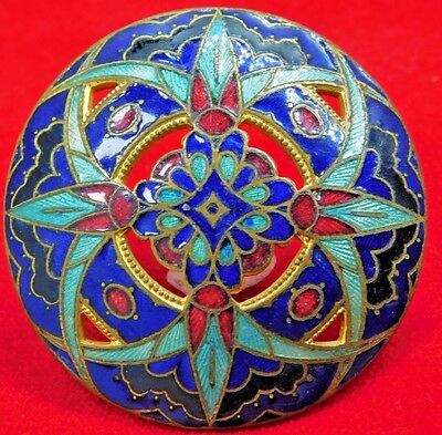 PERfECT Large ANTIQUE Enamel  Button Basse Taille CHAMPLEVE