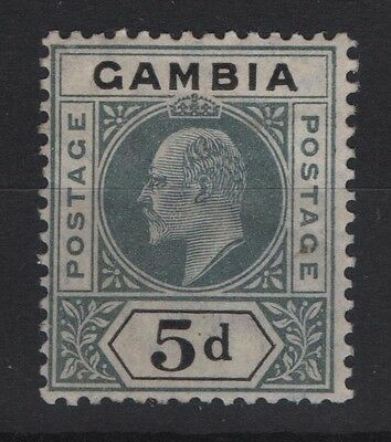 GAMBIA, SG 62 1904-06 5d Grey and Black, Mounted Mint